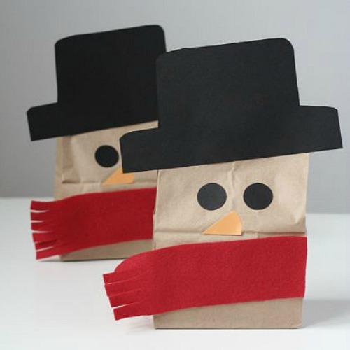 Bolsas decoradas como un muñeco de nieve