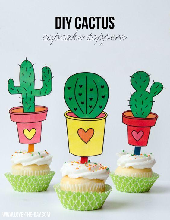 Toppers cactus para imprimir