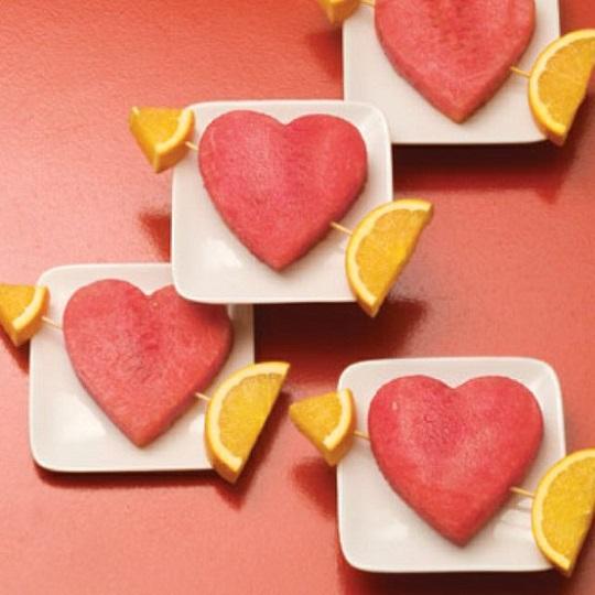 Corazones de sandía para San Valentín