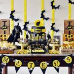 Decoración de cumpleaños Batman en negro y amarillo