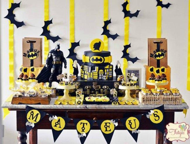 Decoraci n de cumplea os batman en negro y amarillo decoraci n fiestas - Arreglar silla oficina se queda baja ...