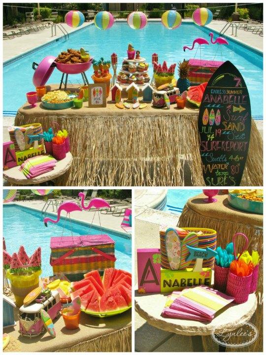 Cumplea os al aire libre de tem tica surf decoraci n fiestas for Piscina estilo playa
