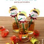 Pajitas decoradas con la cara de Pinocho