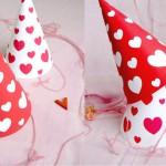 Gorros de papel con corazones