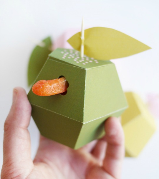 Cajas imprimibles con forma de manzana