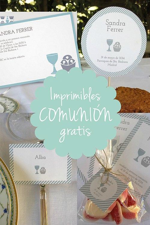 Imprimibles gratis para bodas, fiestas infantiles y Comuniones