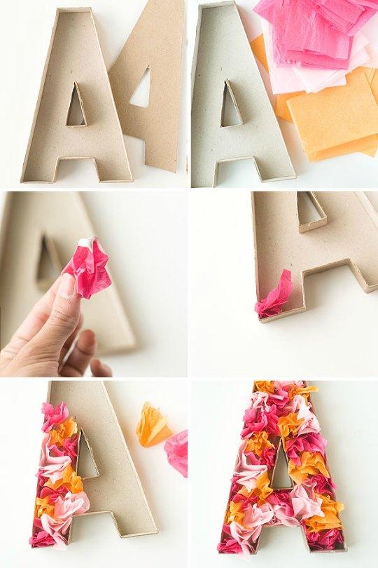 Letras de cart n decoradas con papel de seda decoraci n - Como hacer letras decorativas ...