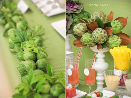 Mesa de frutas y vegetales