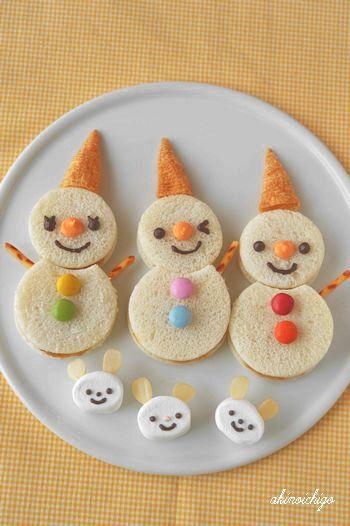 Sandwichs con forma de muñeco de nieve