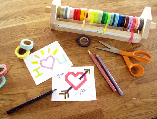 Ideas tarjetas San Valentín decoradas con washi tape